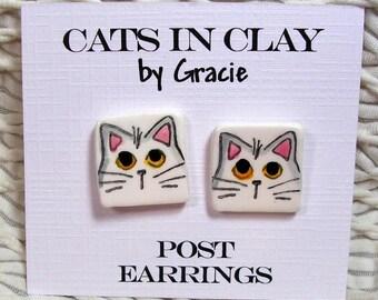 White Cat Post Earrings In Clay Kiln Fired Handmade by Grace M. Smith