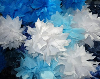 4 Small WHITE Starbursts CONNECTING DIY PuffScape Tissue Paper Flower Pom Puff Shower Birthday First Communion Baptism Confirmation Wedding