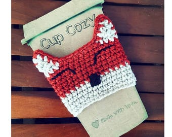 Fox Crochet Coffee Cozy Sleeve