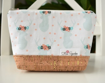 Zipped Pouch - White, Deer, Flowers - makeup bag, cosmetic bag, toiletry bag, accessories bag, small storage bag, small zipper pouch