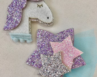 Glittery Unicorn and Glitter Star Appliqué Felt Embellishments Felties