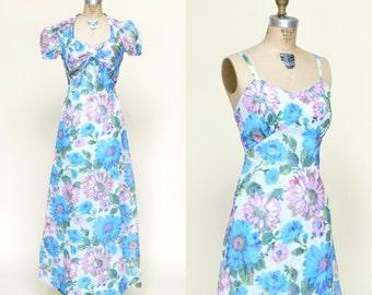 Vintage Maxi Dress --- 1970s Floral Dress