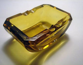 Art Deco Amber Glass Ashtray
