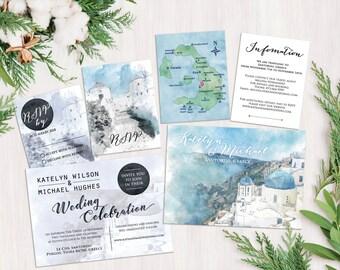 Digital Printable Files Destination Wedding Greece Santorini Watercolor Painting Wedding Invitation Set RSVP Map Info ID659