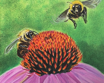 Bees on Cone Flower Acrylic Painting, Bee Art, Cone Flower Art, Wildlife Art Painting, Nature Art Painting, Garden Art Painting