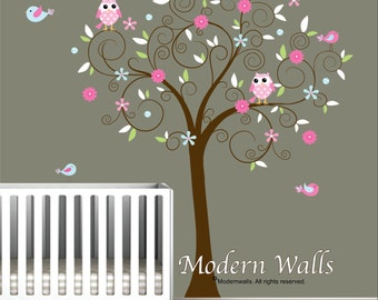 Vinyl Wand Aufkleber Aufkleber-Baum mit Blumen Vögel-Kinder-e33