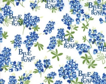 20 % off thru 5/31 BLUEBONNET PATCH Texas Wildflowers on ivory Moda fabric  by the yard quilt cotton  bluebonnets WORDS 33311-11