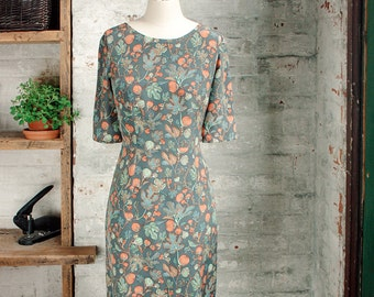 Amelie Silk Liberty Print Dress - botanical print dress - gray dress - silk dress -  knee length dress - Liberty of London dress