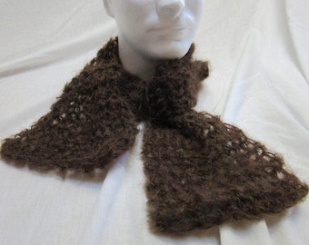 Mans Short Brown Wool Scarf, Mohair, Dark, 44x6, Steampunk, Soft, Fluffy, Womans, Handmade, Crochet Knit Boho, Scarflette Tuck It Under Coat