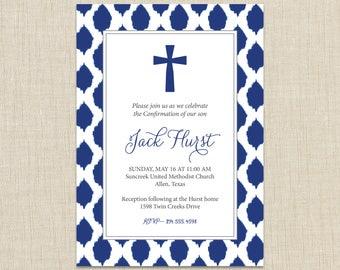 Baptism invitation Boy. Confirmation invitations. First Communion invitation