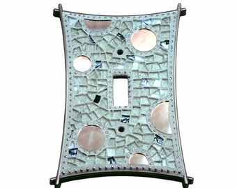 Mosaic Switch Plate - Light Switch Cover - Single Switch Plate - Whtite Switch Plate - Silver Switch Plate - Light Cover