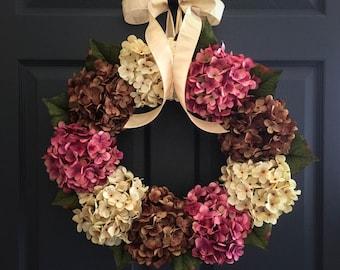Hydrangea Wreath | Front Door Wreaths | Valentines Day Wreath | Wreaths for Door | Outdoor Wreath | Spring Wreath | Wreath | Door Wreath