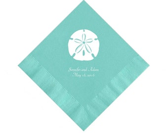 Sand Dollar Beach Wedding Napkins Personalized Set of 100 Napkins