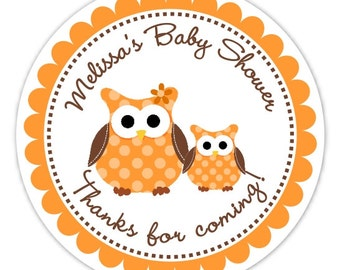 Owl Baby Shower Stickers, Custom Owl Baby Shower or New Baby Labels, Brown, Orange Owl Stickers - 2.5 inch round - Personalized for YOU