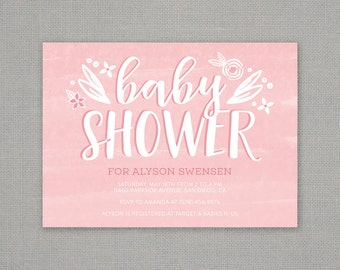 Baby Shower Invitation - pink - girl - floral - modern - watercolor - hand drawn - texture - baby girl