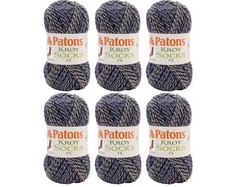 Bulk Buy CHAMBRAY COLORS 6 Pack. Patons Kroy FX Self Striping Sock yarn. Wool blend, super fine Washable wool sock yarn. Blue & Grey Color <