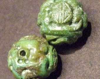 Pair Vintage carved turquoise bead.  13mm (Turq 7)