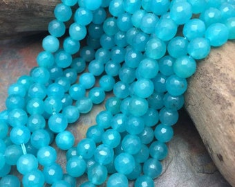 Turquoise Sky Jade Faceted 6mm Round Beads, 15 inch strand, Gemstones
