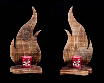 Driftwood Candle Sconces Pair