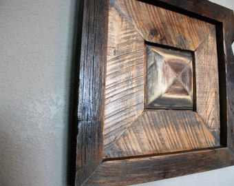Reclaimed wooden wall art-raised medallion pallet wood