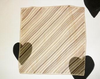 70's Vera Neumann Sheer Silk Chiffon Scarf 1970's Diagonal Tan Nude Minimalist Striped Square Brushstroke Gradient Printed  23 by x 23