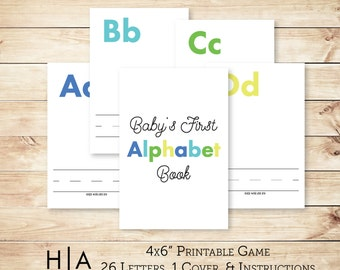 "DIY Alphabet Book Baby Shower Activity Game 4x6"" Baby's First Alphabet Book, book baby shower activity, book themed baby shower"