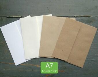 "25 A7 or 5x7 Envelopes, 5 1/4"" x 7 1/4"" (133 x 184mm), 100% Recycled invitation envelopes, white, natural white, light or kraft brown"