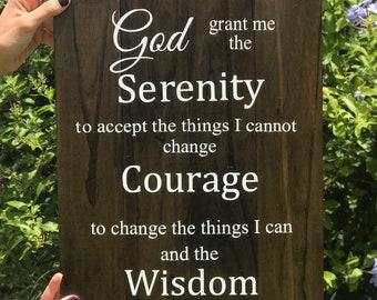 Serenity Prayer Sign   Wooden Sign   God Grant Me the Serenity Sign   Prayer Sign   Serenity Prayer   Living Room Decor