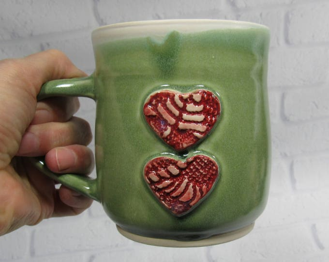 Featured listing image: Ceramic Mug - Pottery Mug - Sweetheart Mug - Hearts Mug - Ceramic Coffee Cup - Ceramic Mug - Tea Mug - Green Mug - Wedding Favor