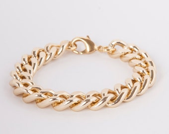 Bracelet  Curb Chain Gold Plated Chunky Curb Bracelet