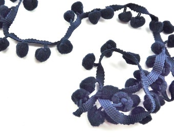 Navy Blue Pom Pom Fringe String Braid Cord - 1 meter = 1.09 Yards