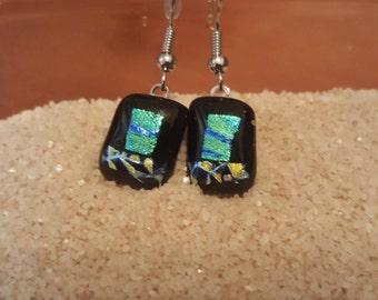 Dangle glass fused earrings-28