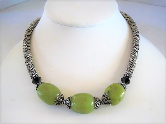 Green Agate Bead Necklace,  Silver Tone Choker, Genuine Stone Beads