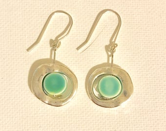 Silver and Sea Green Earrings
