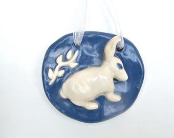 Ceramic Hanging Bunny Tile ~ Ceramic Bunny ~ Bunny Figurine ~ Bunny Nursery ~ Bunny Gifts ~ Blue Bunny ~ Easter Decor ~ Bunny Door Decor
