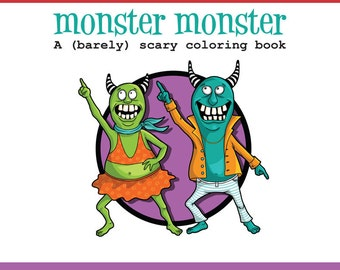 Adult Coloring book of funny monsters, printable PDF coloring pages silly and cute monsters and zombies by SLS Lines, 14 pages