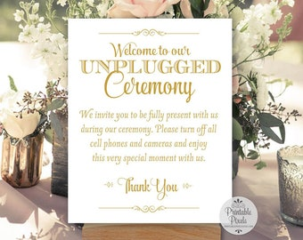 Gold Matte Printable Unplugged Ceremony Sign, Wedding Sign, Unplugged Wedding (#UN13G)