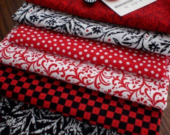 Fabric - Red White and Black Fabric and Button Pack - Number 1 - Embellishment Kit