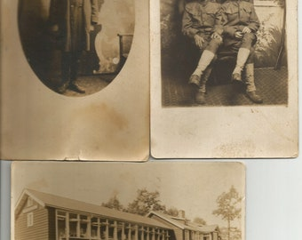 WWI Photograph Postcards Soldiers Named Military Antique Lot of 3