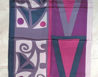Long Echo Silk Scarf with Geometric Design – 58 inches long