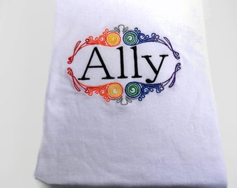 GLBTQ Ally shirt, Rainbow LGBT Ally shirt, Gay Pride shirt, Equality, Human rights shirt, embroidered, social justice tee