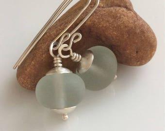 Sea Foam Green Earrings   Cultured Sea Glass Earrings    Beach Glass   Sterling Silver Earrings