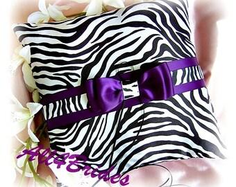 Purple and zebra print wedding pillow, zebra weddings ring cushion. Ring bearer pillow wedding decoration.