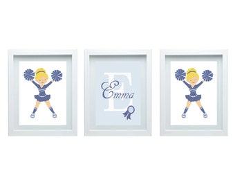 Cheerleader Wall Decor Little Girl Bedroom Decor Girl Nursery Decor Sport Wall Art Nursery Art 3 - 8X10 Prints Choose Your University Color