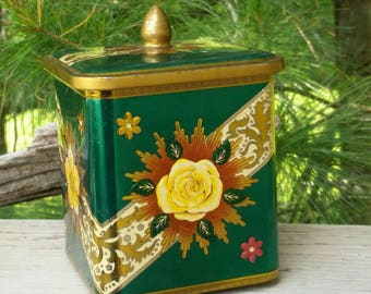Green Yellow Rose Floral Tin Art Deco Style with Gold Knob