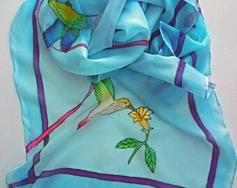 Large Hummingbird Hand Painted Silk Scarf