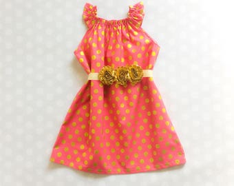 Raspberry Pink and Gold Polka Dot Dress - Baby Girl Dress - Girls Dresses - Easter Dress - Baby Girl Easter Dress - Easter Dress for Girls