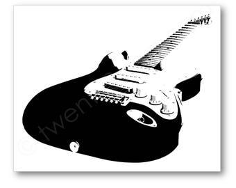Electric Guitar Poster, Fender Stratocaster Art, Gift for Guitarist, Guitar Player Art, Guitar Player Gift, Guitar Pop Art, Guitar Canvas