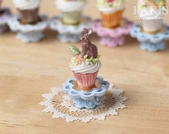 "MTO-Easter ""Showstopper Cupcake (F) - Milk Chocolate Rabbit, Egg, Blossom - Miniature Food in 12th Scale"