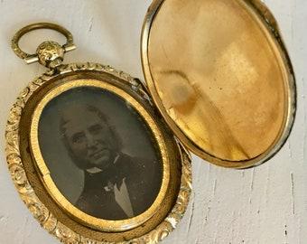 Antique Victorian Locket Rare Large Gold Back and Front Engraved Design